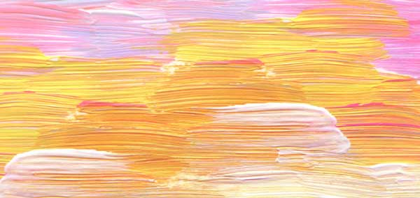 Abstract art of pink, yellow and whit horizontal brush strokes