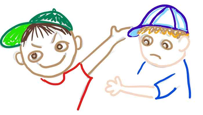 drawing of a boy hitting another boy