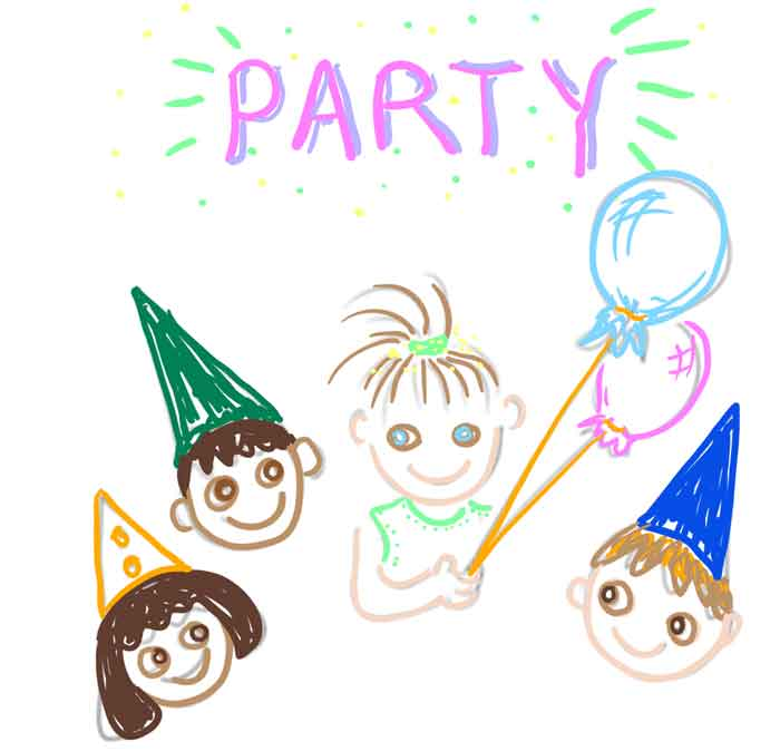 Party, children with party hats and balloons