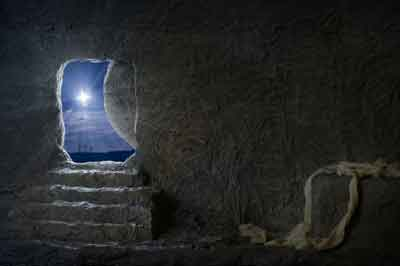 Looking out at the night sky from an empty tomb