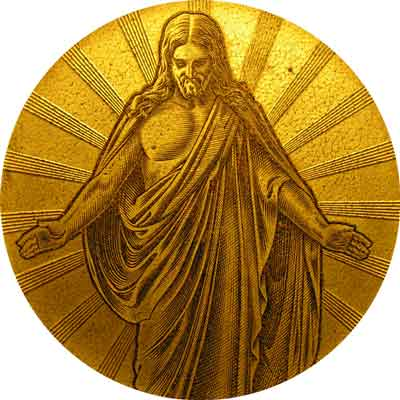 gold plaque of Jesus