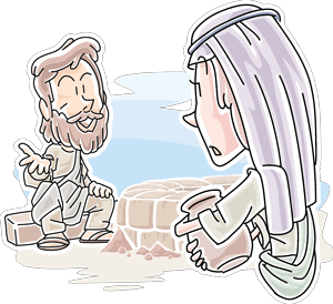 cartoon picture of a woman with a bucket and a man sitting on a wall
