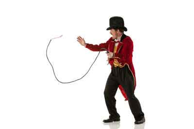 Ringmaster cracking a whip