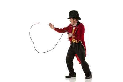 Ringmaster cracking a whip