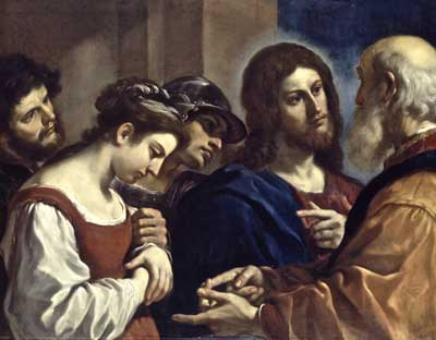 Painting of woman with Jesus and a Pharisee