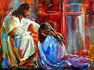 A painting of Jesus sitting with a woman kneeling at his feet