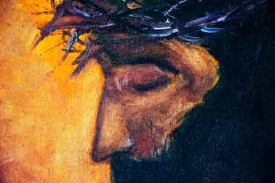 Jesus Christ - an original oil painting portrait with crown of thorns.